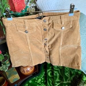 Fall Camel Colored Corduroy Button Front Skirt